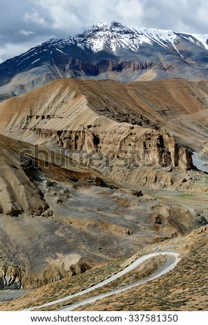 Beautiful mountains on Leh - Manali highway near to Pang village - Tibet, Leh district, Ladakh, Himalayas, Jammu and Kashmir, Northern India