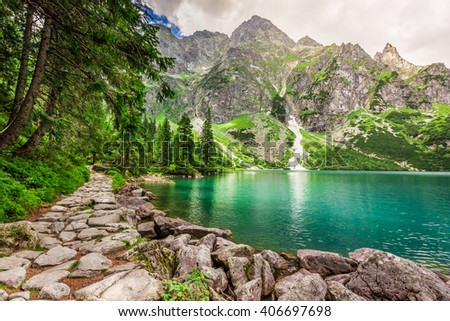 Beautiful mountains pond at summer, Poland - stock photo