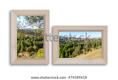 Beautiful mountains view, landscape pictures in frames, interior decor