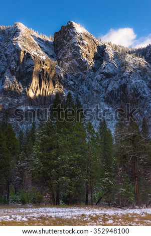 Beautiful mountian in the winter, Yosemite National Park