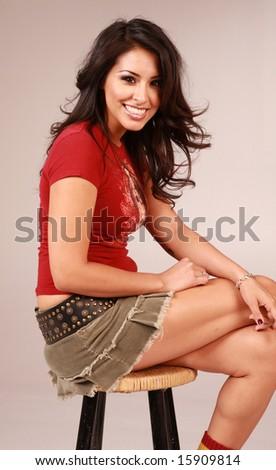 Beautiful multi ethnic woman on pure white background - stock photo