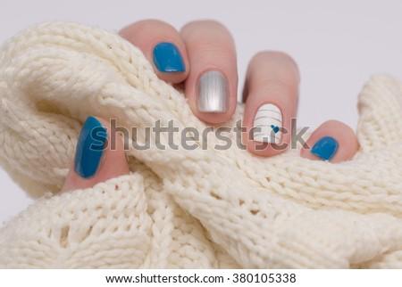 beautiful multicolored female manicure. nails - stock photo