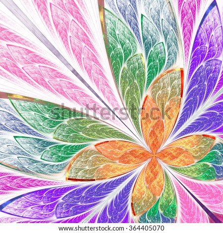 Beautiful multicolored fractal flower or butterfly in stained glass window style. Computer generated graphics. - stock photo