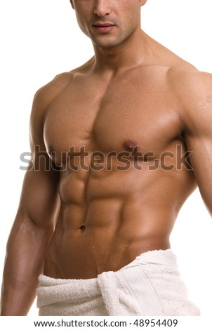 Beautiful muscular man after bath. - stock photo