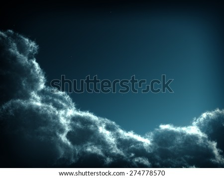 beautiful mysterious clouds in the night  - stock photo