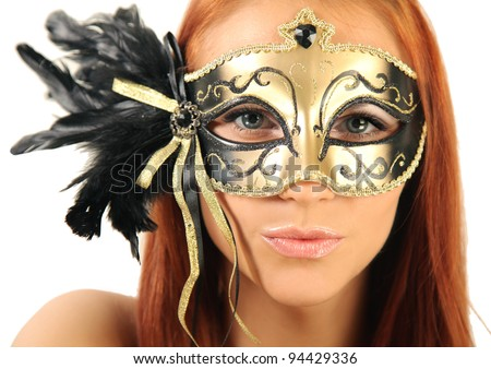 beautiful mysterious woman in mask - stock photo