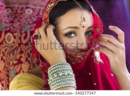 Beautiful, mysterious woman in red Indian sari with traditional jewelry, face partially covered. Horizontal format. Red sari with red brocade background.