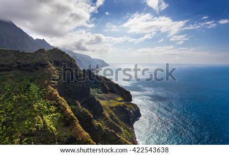 Beautiful Na Pali coastline around the Kalalau trail - stock photo