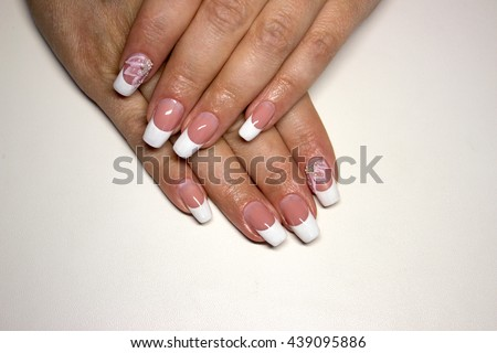 Beautiful Nail Design French Manicure With Pink Flower And Rhinestones
