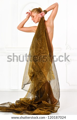 Beautiful naked woman  in drape in studio with classic antique interior. - stock photo