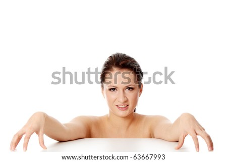 Beautiful naked woman, isolated on white - stock photo