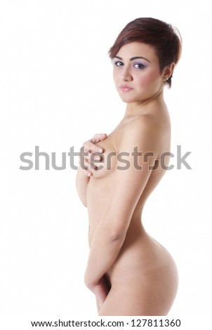 Beautiful naked woman isolated on white background - stock photo