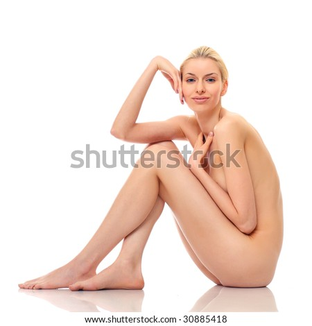 Beautiful naked woman poses, isolated on a white background, please see some of my other parts of a body images