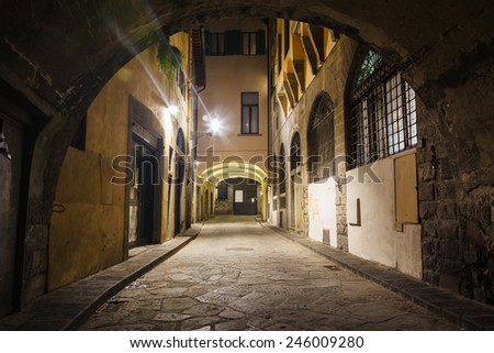 Beautiful narrow street with arch Illuminated at Night, Florence, Italy - stock photo