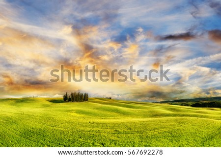 Beautiful natural landscape during sunset in tuscany