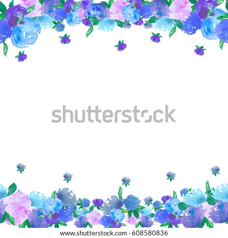 Beautiful Natural Pattern Frame Border Elegance Wallpaper With Blue Roses Vintage