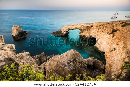 Beautiful natural rock arch of Ayia Napa on Cyprus island - stock photo