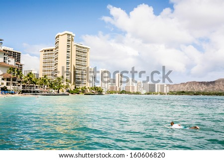 Beautiful natural scenery of the picturesque island of Waikiki - Hawaii. Ocean and tropical vegetation - stock photo