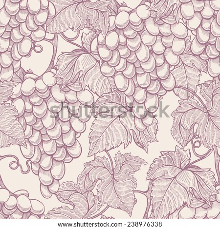 beautiful natural seamless vintage background with hand-drawn bunches of ripe grapes  - stock photo