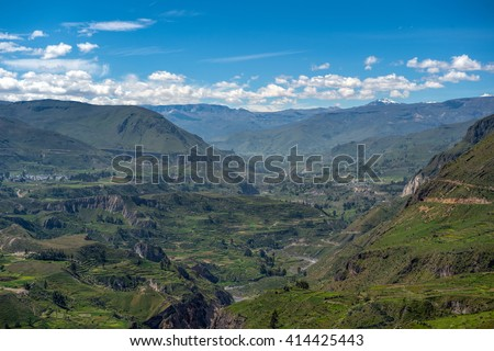 Beautiful Natural view from The Colca Canyon, the deepest canyon in the world, Arequipa, Peru