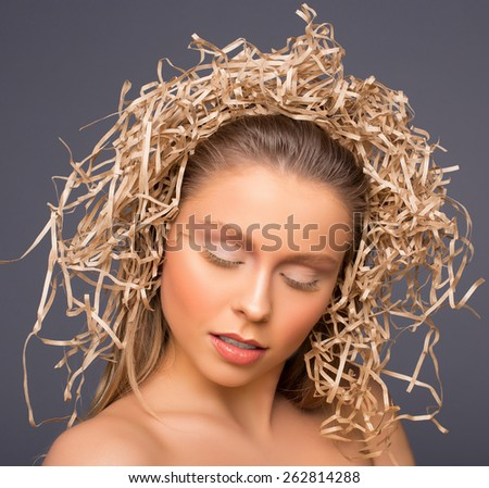 Beautiful natural woman on beige tones - stock photo