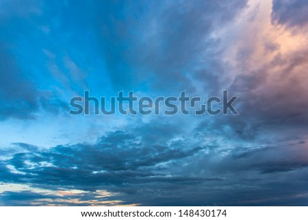 Beautiful nature background. Colorful sunset. Dramatic sky. - stock photo