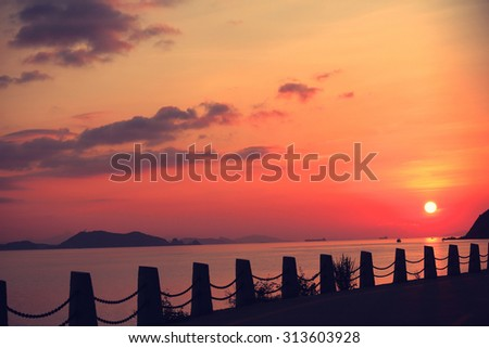 beautiful nature landscape of sunrise on sea