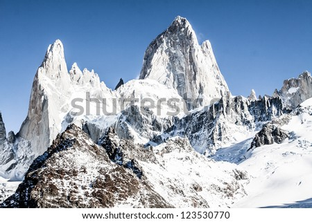 Beautiful nature landscape with Mt. Fitz Roy as seen in Los Glaciares National Park, Patagonia, Argentina  ( HDR image ) - stock photo