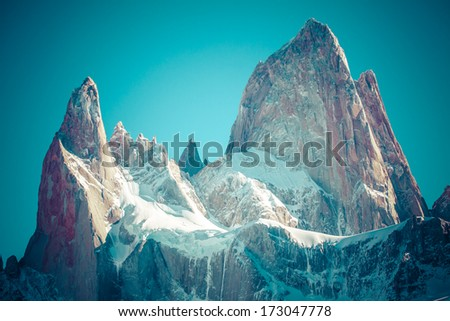 Beautiful nature landscape with Mt. Fitz Roy as seen in Los Glaciares National Park, Patagonia, Argentina - stock photo