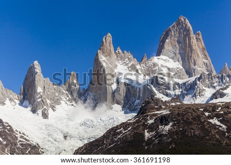 Beautiful nature landscape with Mt. Fitz Roy. Los Glaciares National Park, Patagonia, Argentina. - stock photo