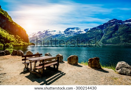 Beautiful Nature Norway natural landscape. - stock photo
