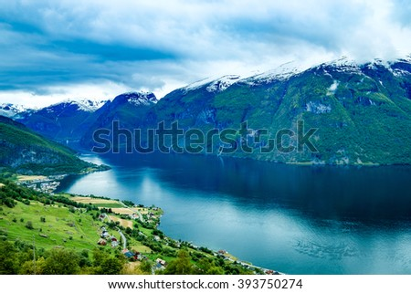 Beautiful Nature Norway natural landscape. Stegastein Lookout. - stock photo