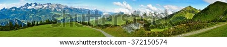 Beautiful nature of Austrian Alps with Dachstein and path in summer.Nature panorama.Alps Panorama.Panorama.Alps.Swiss.Europe.Swiss Panorama of Alps.Europe Alps.Summer.Landscape.Panoramic.Summer Alps - stock photo