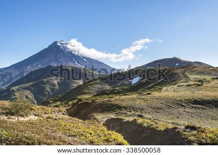 Beautiful nature of Kamchatka. Volcano eruption. Russia, Far East, Kamchatka Peninsula. - stock photo