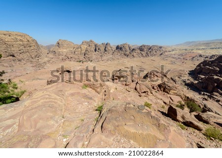 Beautiful nature of Petra, the capital of the kingdom of the Nabateans in ancient times. UNESCO World Heritage