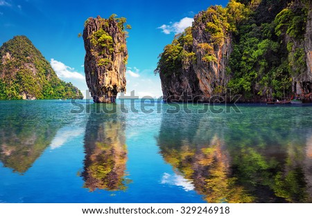 Beautiful nature of Thailand. James Bond island reflects in water near Phuket  - stock photo