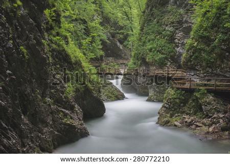 Beautiful nature, Vintgar Gorge, Slovenia - stock photo