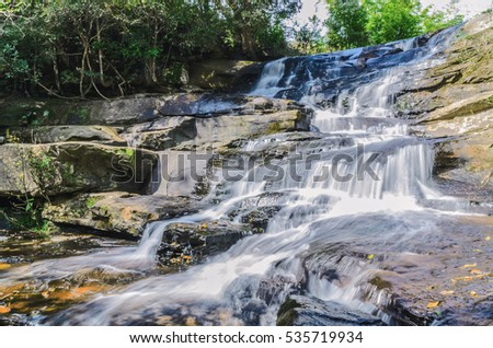 Beautiful nature waterfall in park thailand