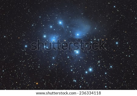 Beautiful Nebula and Deep sky Object ,M45,Pleiades in the constellation of Taurus  - stock photo