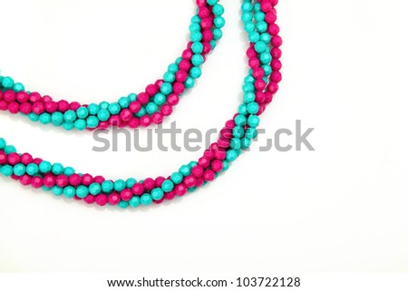 beautiful necklace of pink and blue - stock photo