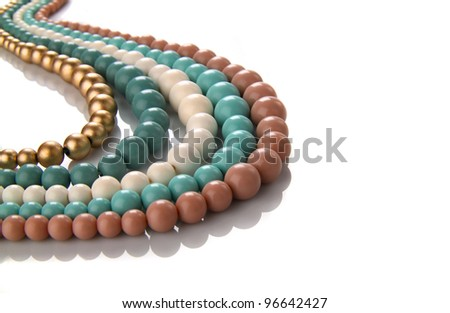 beautiful necklace with five colors - stock photo