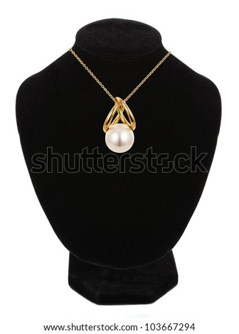 beautiful necklace with pearl isolated on white - stock photo
