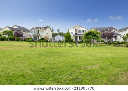 Beautiful neighborhood in Seattle during summer time - stock photo