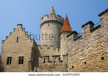 Beautiful neo-Gothic castle with medieval origins. Czech republic, Europe. - stock photo