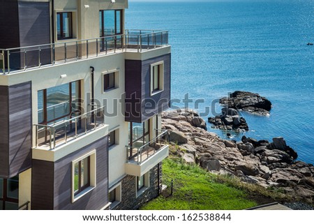 beautiful new apartment building, outdoor, sea  view  - stock photo