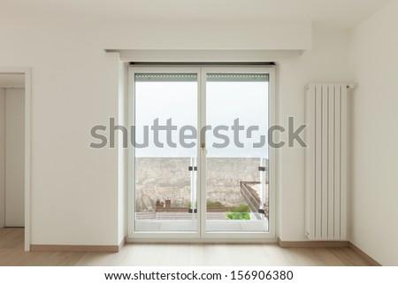 beautiful new apartment, interior, view window - stock photo