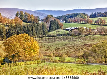 Beautiful New England fall country scenic - stock photo
