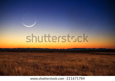 Beautiful new moon at sunset in Madagascar - stock photo