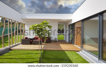 Beautiful new peaceful, modern home with privat garden and terrace - stock photo