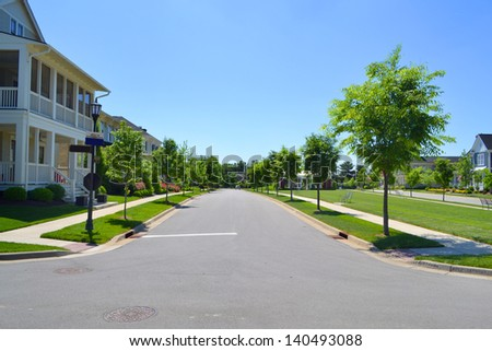 Beautiful, New Suburban Neighborhood Development - stock photo